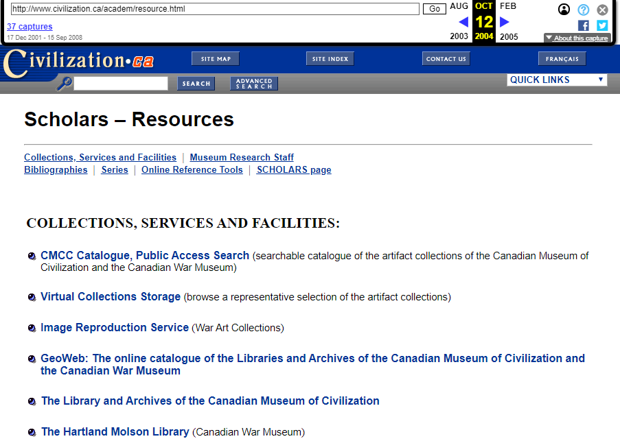 Fragment of Snapshot of the Scholar Resources on 12 October 2004