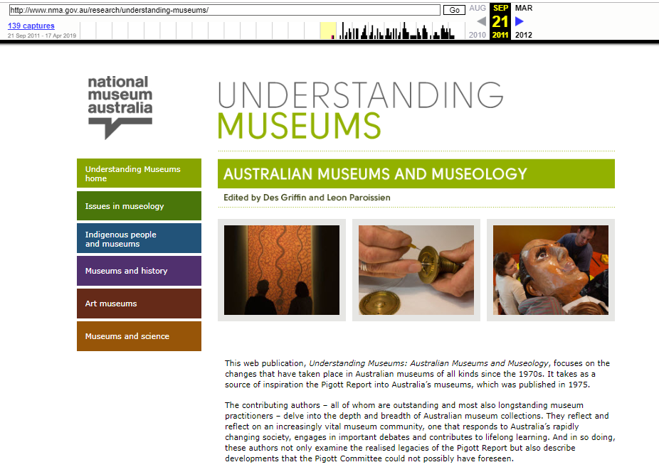 Fragment of Snapshot of the Understanding Museums on 21 September 2011