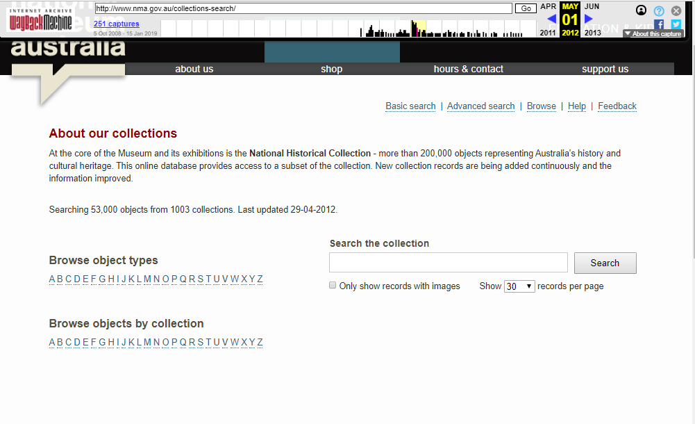 Snapshot of the Search the Collections on 1 May 2012