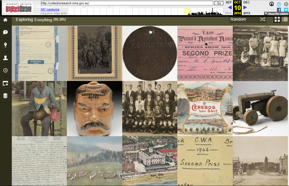 Fragment of the Snapshot of the Collection Explorer on 22 October 2014