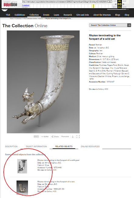 Snapshot of the Rhyton with a List of Related Objects on 3 July 2014