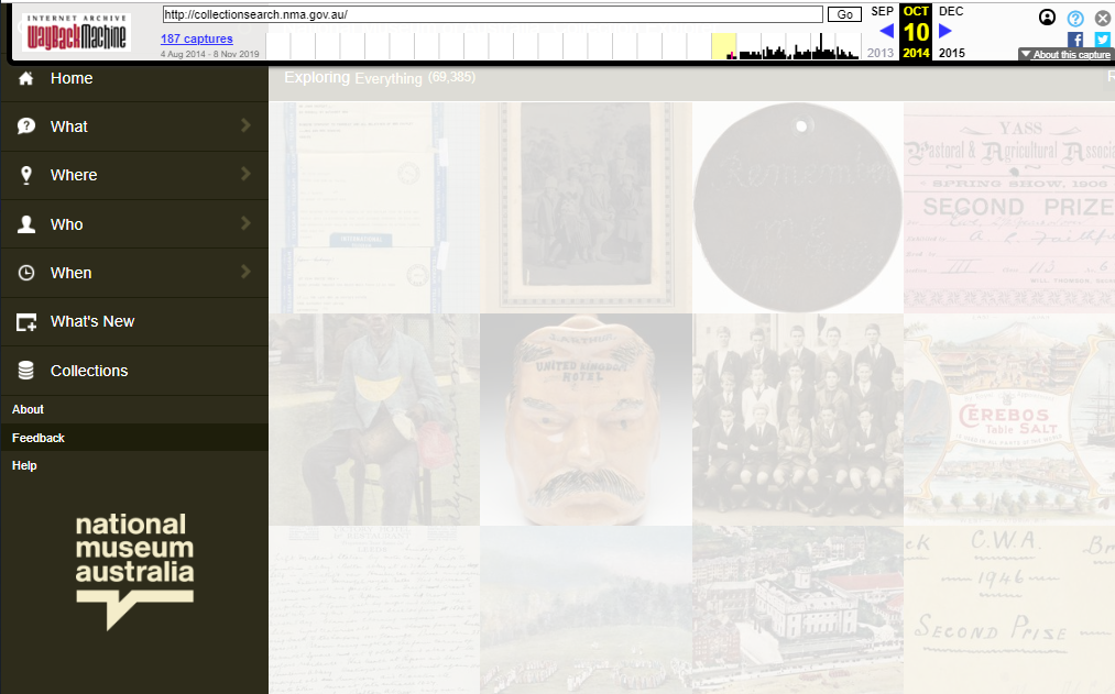 Fragment of the Snapshot of the Collection Explorer on 10 October 2014