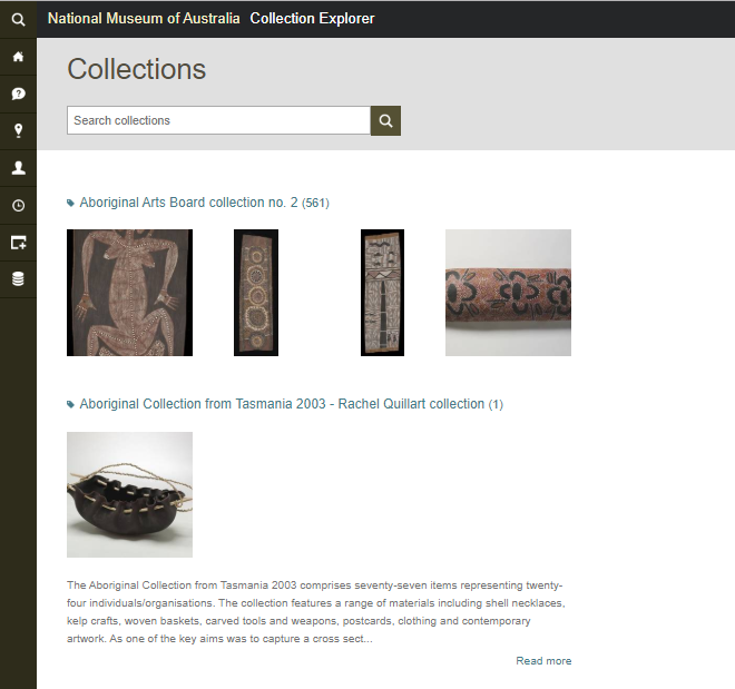 Fragment of the Snapshot of the Collections Page on 6 January 2015
