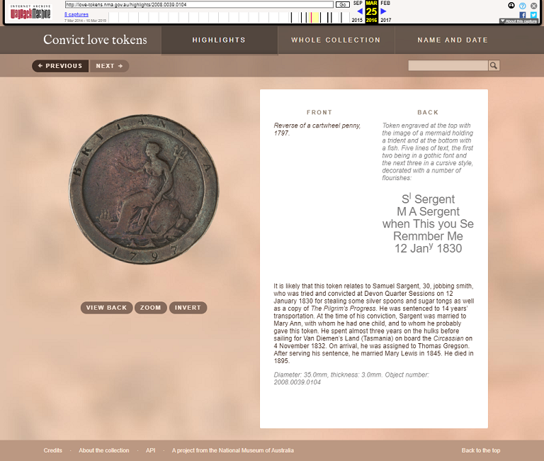 Snapshot of the Object Sample from the Convict Love Tokens Web Project on 25 March 2016