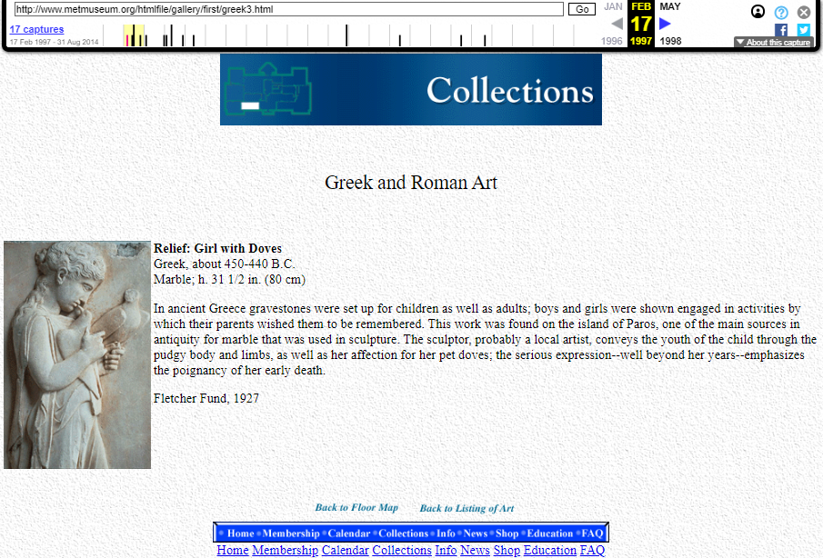 Snapshot of the object's sample from the Greek and Roman Art Collection's Description on 17 February 1997