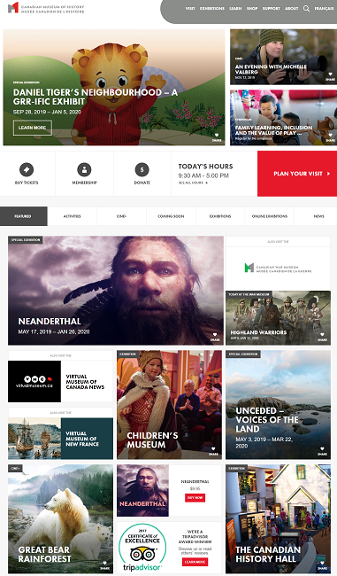 Screenshot of the main page of the museum;s website on 12 November 2019