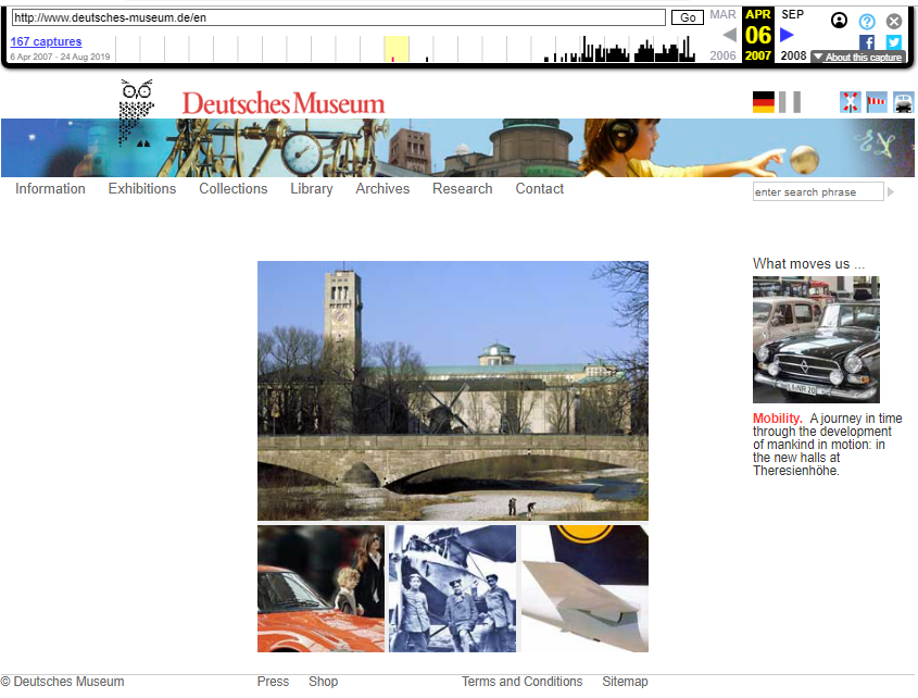 Snapshot of the Main Page on 6 April 2007