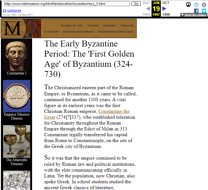 Snapshot of the Summary on The Early Byzantine Period of the Byzantium Exhibition on 19 June 1997
