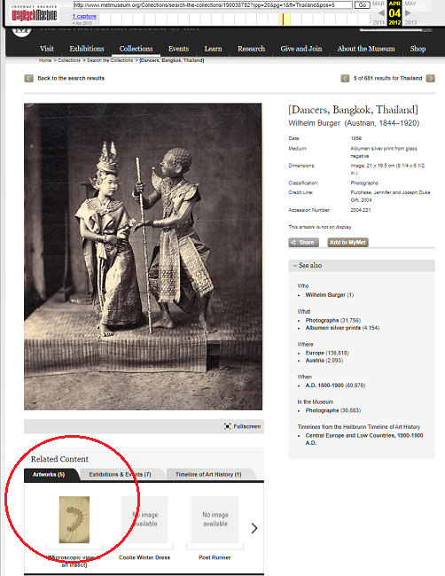 Snapshot of the page with an image of Thai Dancers on 4 April 2012