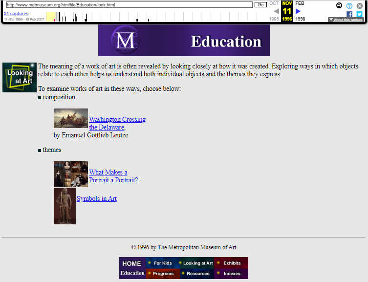 Snapshot of the Looking at Art Section on 11 November 1996