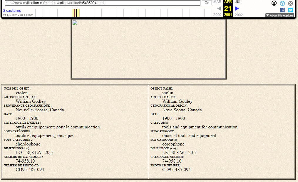 Snapshot of the Object Page and the Description Structure on 21 April 2001