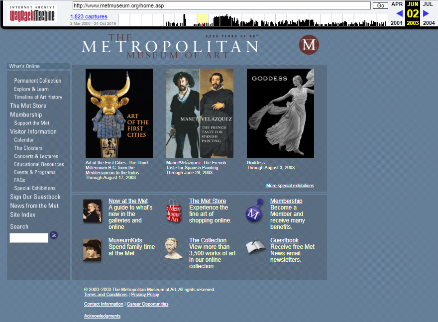 Snapshot of the main page on 2 June 2003