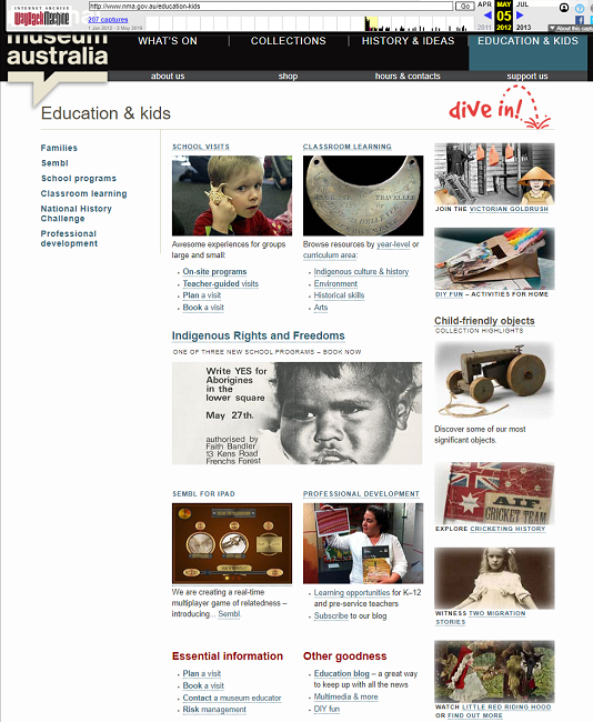 Snapshot of the Education & Kids Page on 5 May 2012