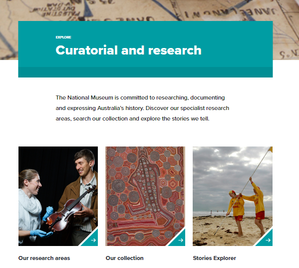 Fragment of the Snapshot of the Curatorial & Research Page on 16 March 2019