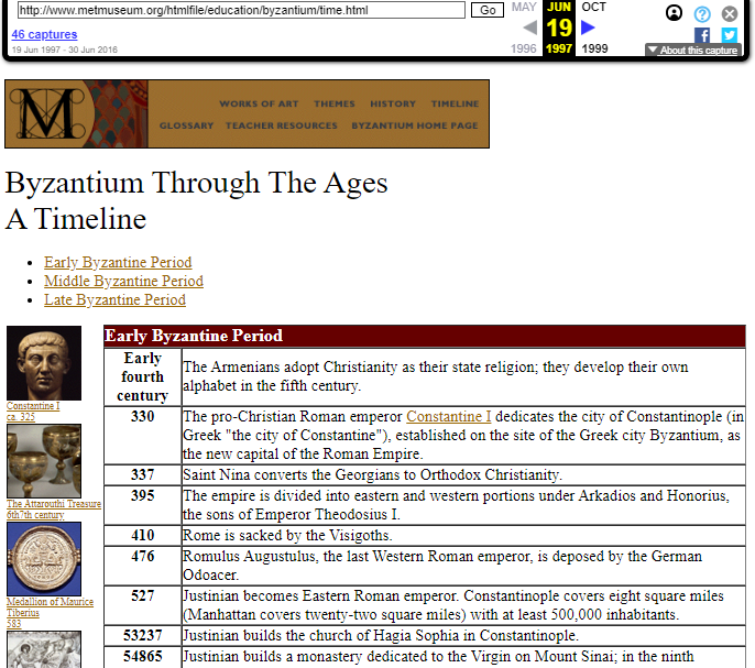 Snapshot of the TimeLine of the Byzantium Exhibition on 19 June 1997