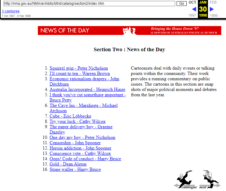 Snapshot of the Catalog Page on 30 January 1998