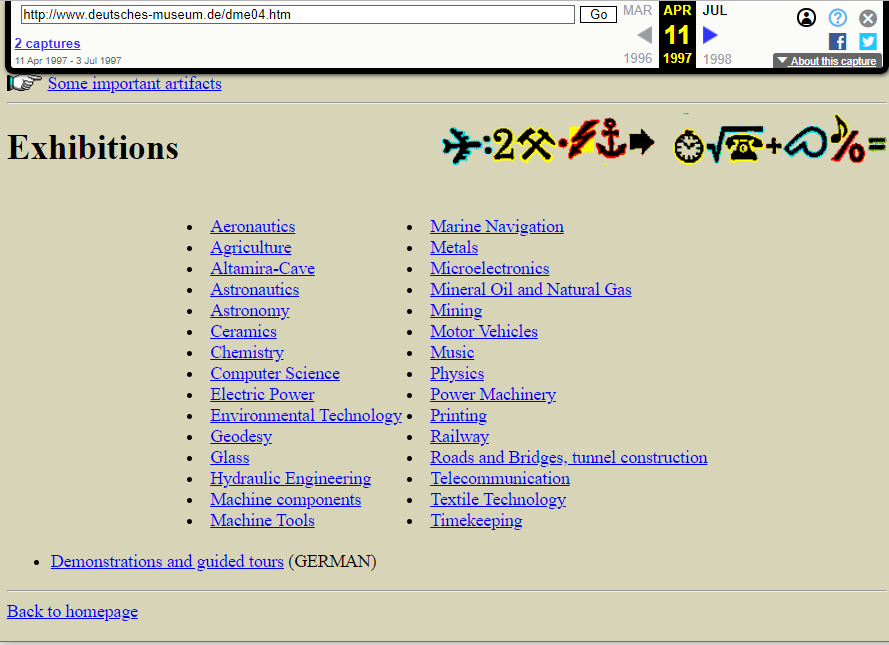 Screenshot of the Exhibitions Page on 11 April 1997