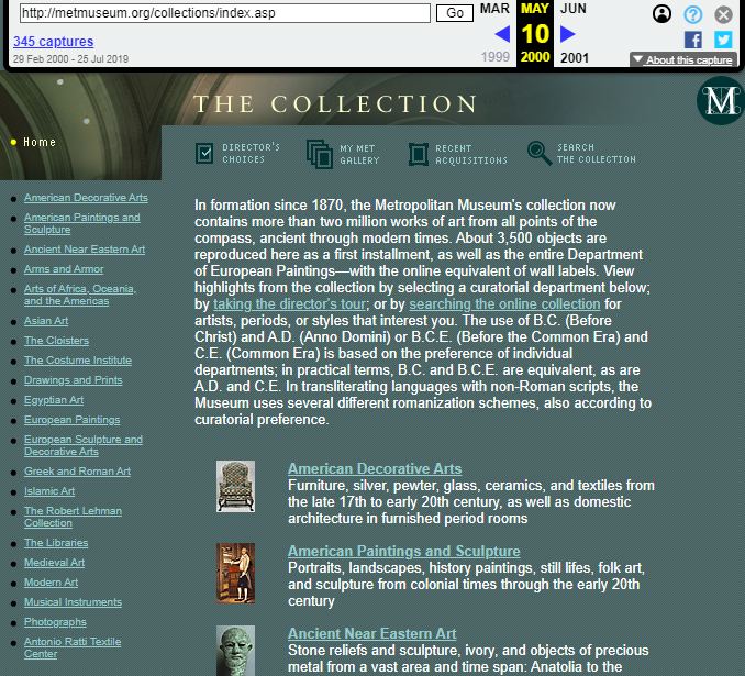 Snapshot of the Collections List on 10 May 2000