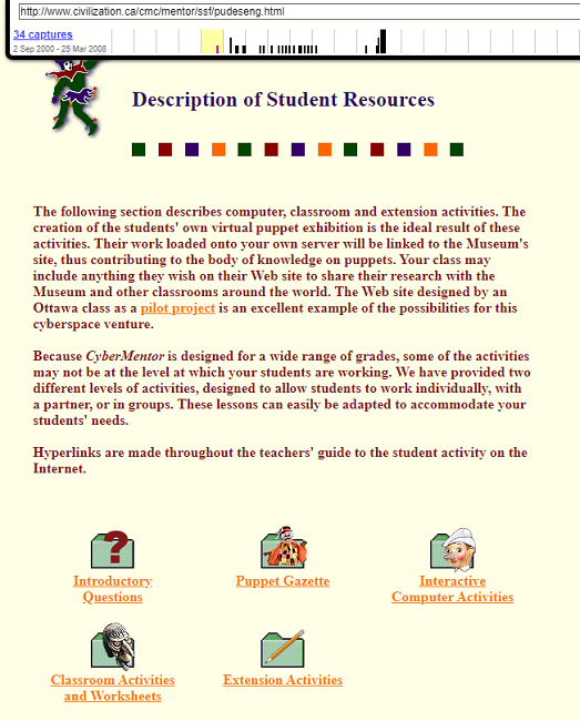 Snapshot of the Teacher's Guide on CyberMentor on 2 September 2000