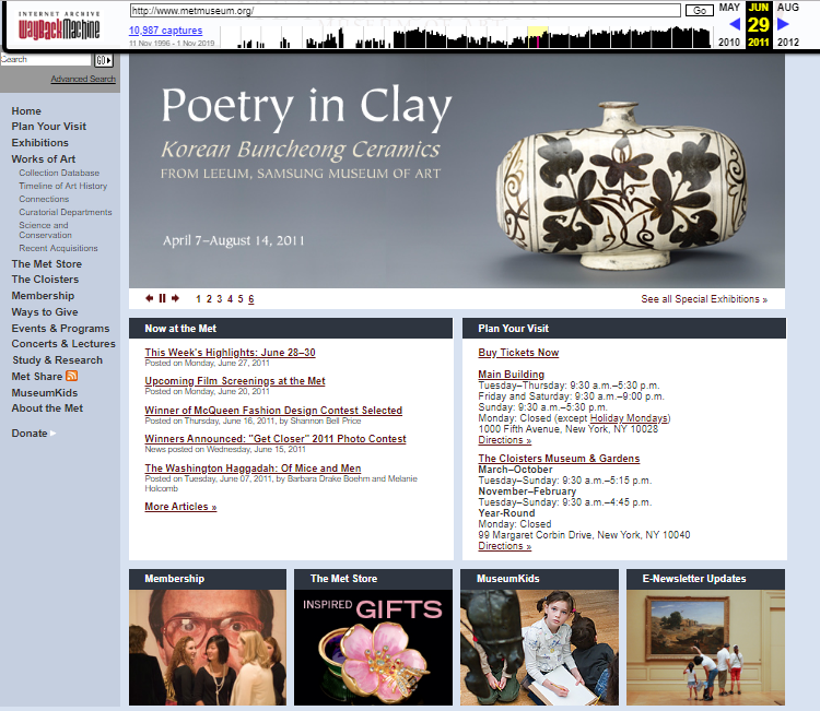 Snapshot of the main page on 29 June 2011