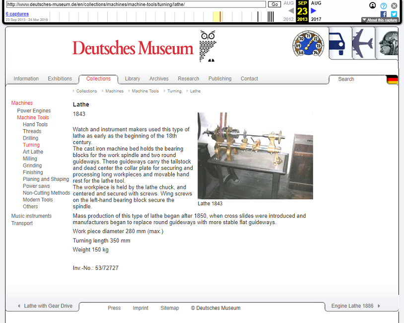 Screenshot of the Object's Page on 23 September 2013