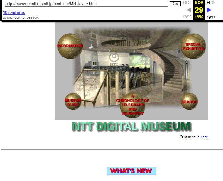 NTT Digital Museum (Japan). WayBack Machine. Snapshot on 29 November 1996
