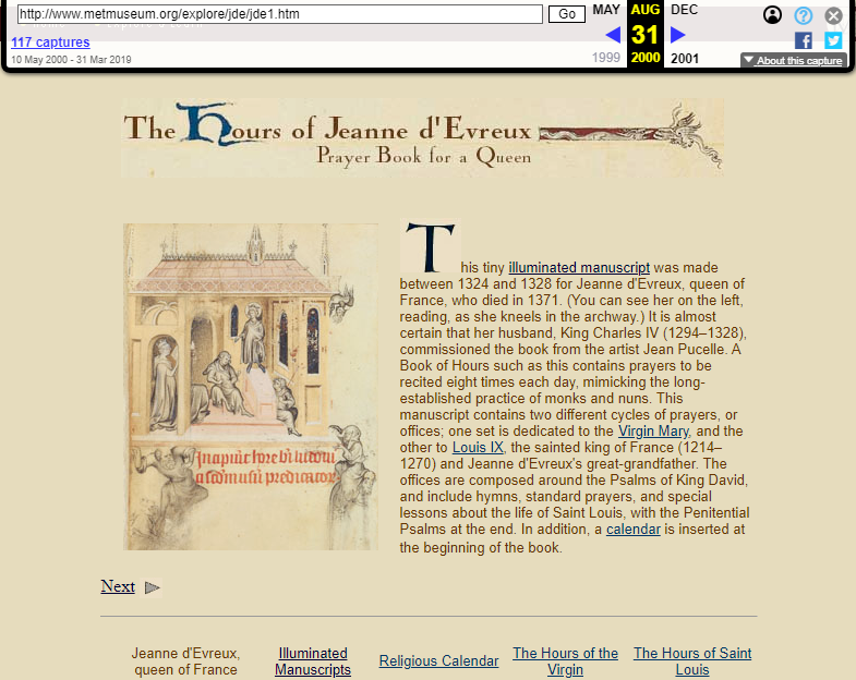 Snapshot of the Narration about the Prayer Book of the Queen on 31 August 2000