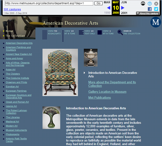 Snapshot of the Initial Page of the Collection on Decorative American Arts on 10 May 2000