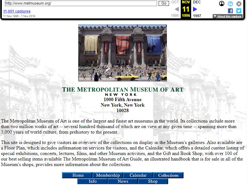 Snapshot of the main page on 11 November 1996