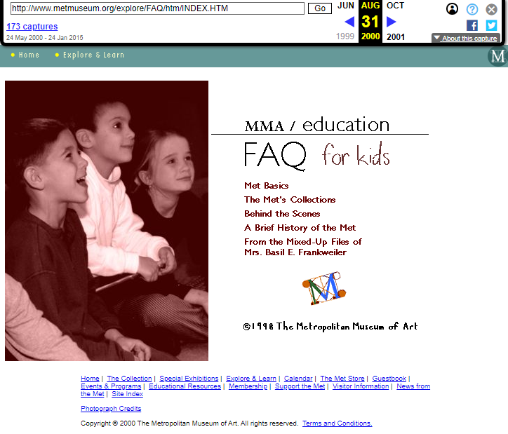 Snapshot of the FAQ for Kids Section on 31 August 2000