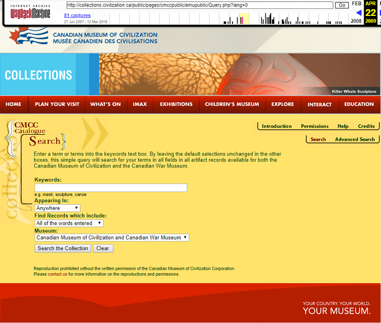 Snapshot of the Search Form over the Collection on 22 April 2009