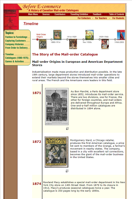 Fragment of Snapshot of the Online Exhibition Timeline on 12 July 2017