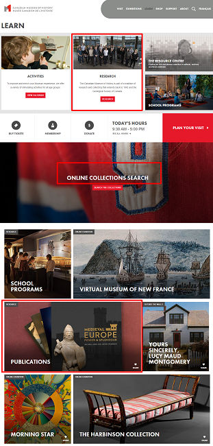 Screenshot of the Learn Section on 13 November 2019