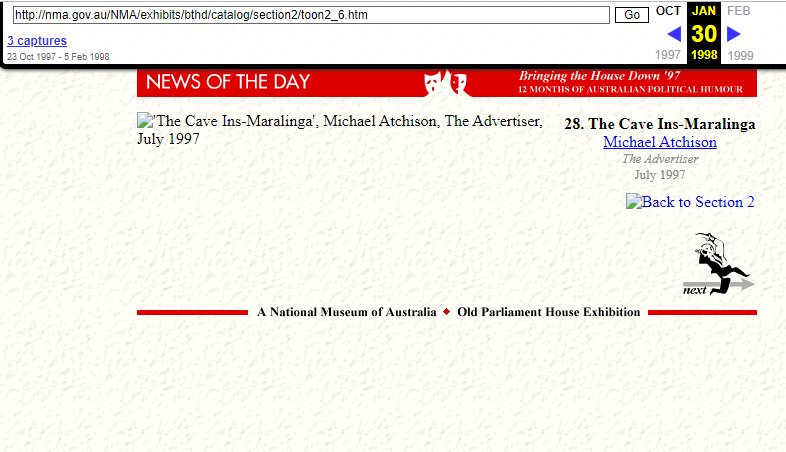 Snapshot of the Object's Page Sample on 30 January 1998