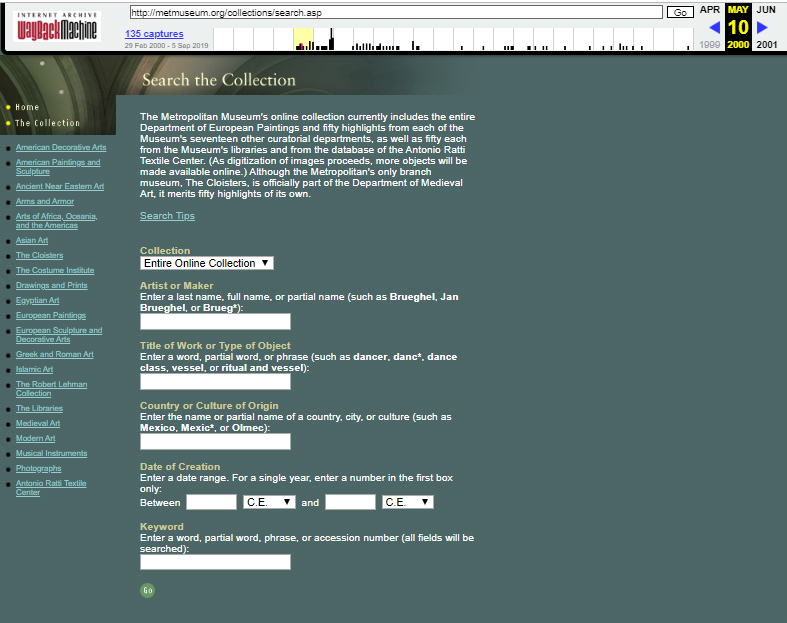 Snapshot of the Search Form for the browsing collections on 10 May 2000