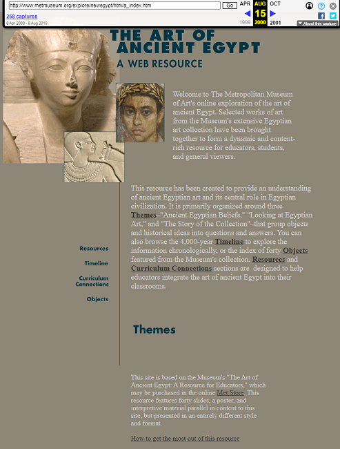 Snapshot of the Guidance on the Online Exploration of Art of Ancient Egypt on 15 August 2000