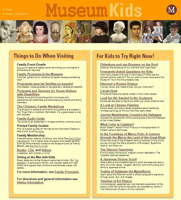 Snapshot of the List of Online Activities for Children on 7 August 2004