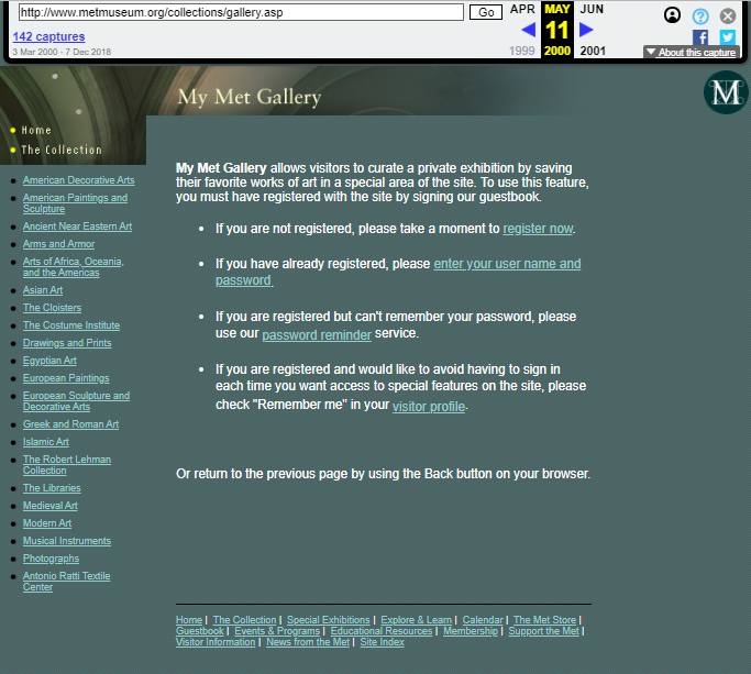 Snapshot of the My MET Collection Page on 11 May 2000