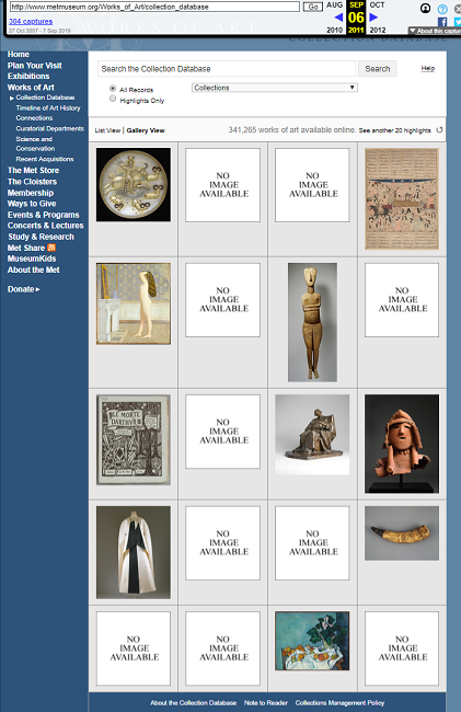 Snapshot of the Search Form on the collections on 6 September 2011