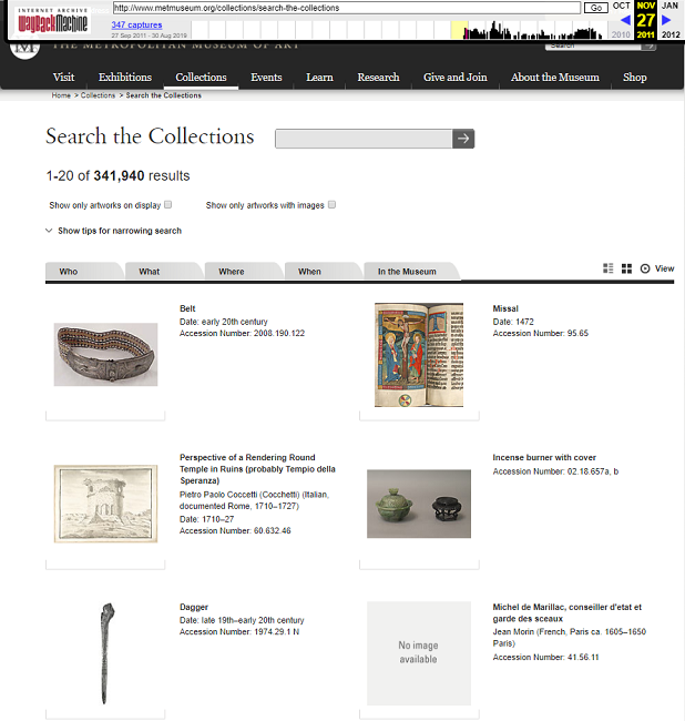Snapshot of the Search Form on the collections on 27 November 2011