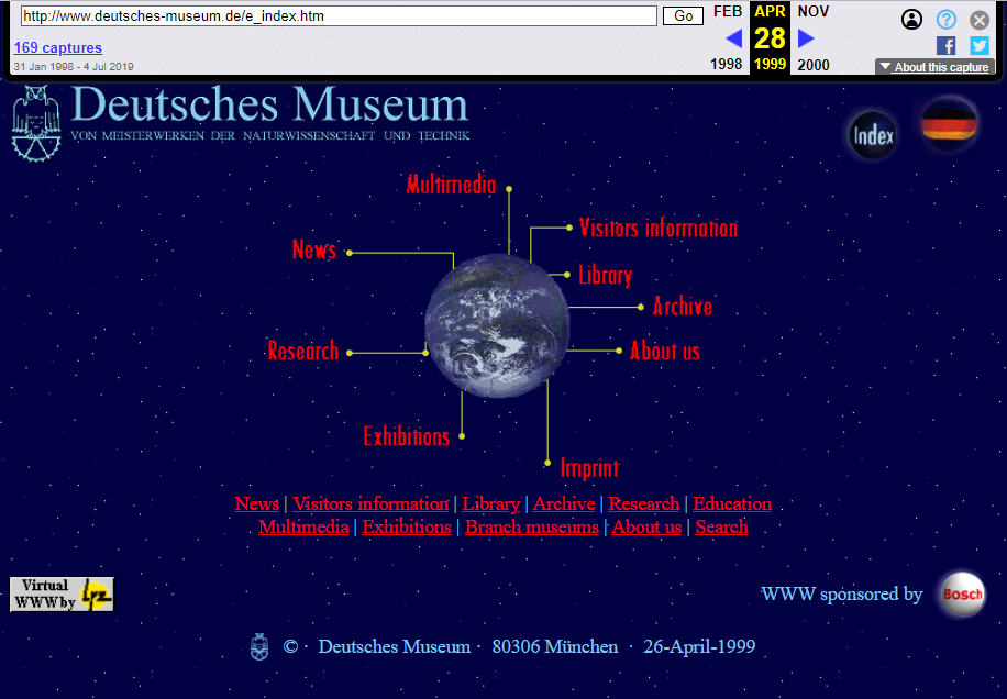 Snapshot of the Main Page on 28 April 1999