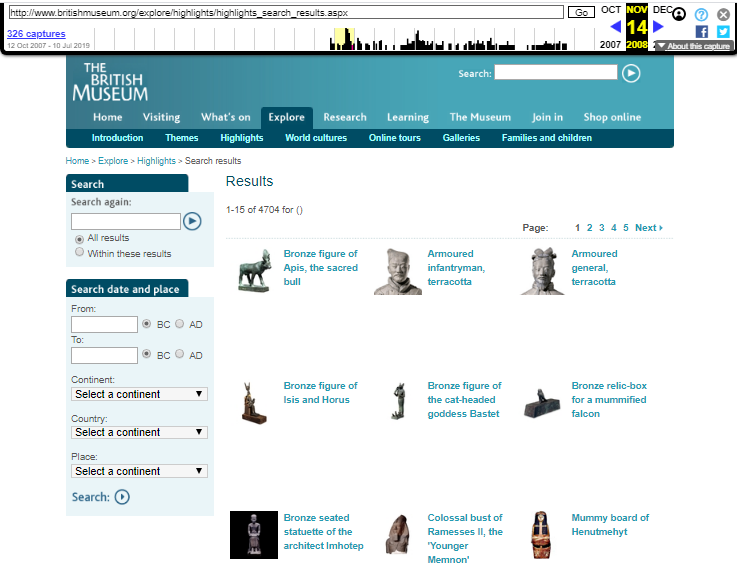 The British Museum. Snapshot of the Browsing Collection Page on 14 November 2008 [6]