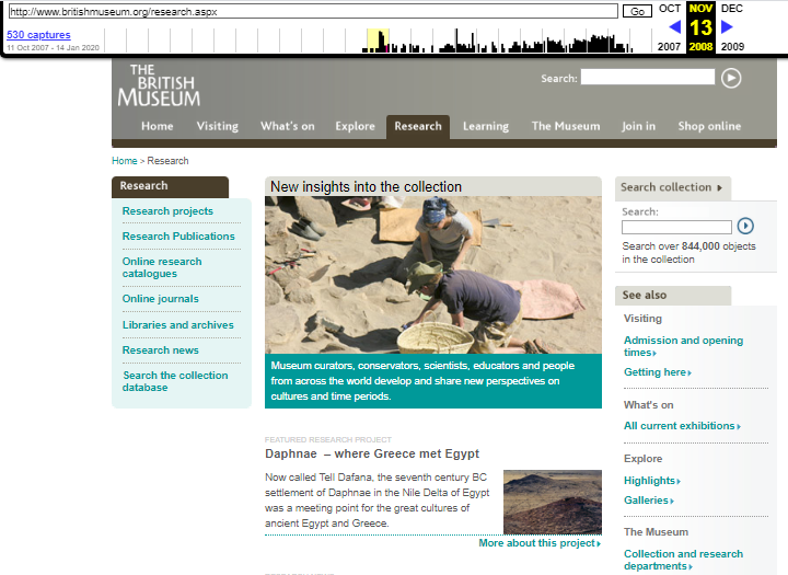The British Museum. Snapshot of the Research Page on 13 November 2008 [8]