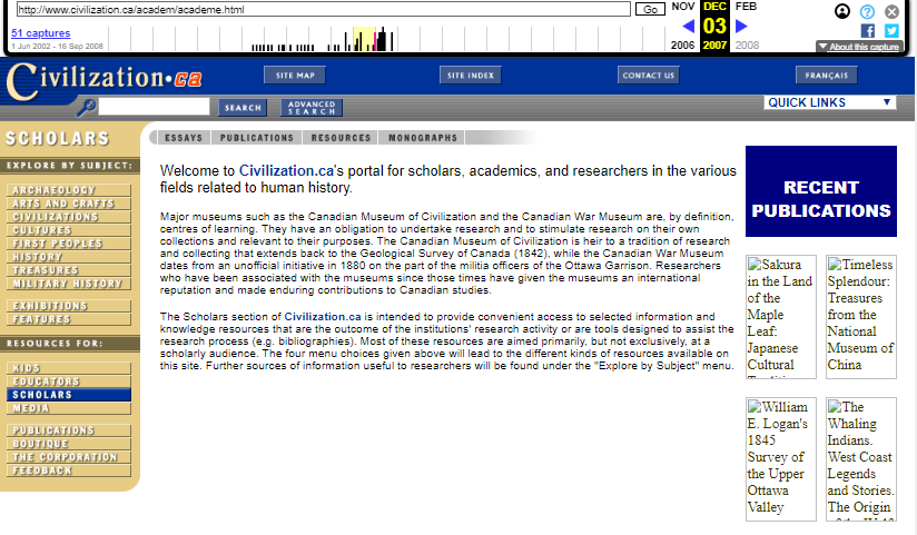 The Canadian Museum of Civilization Corporation. Snapshot of the Portal for Scholars on 3 December 2007 [7]