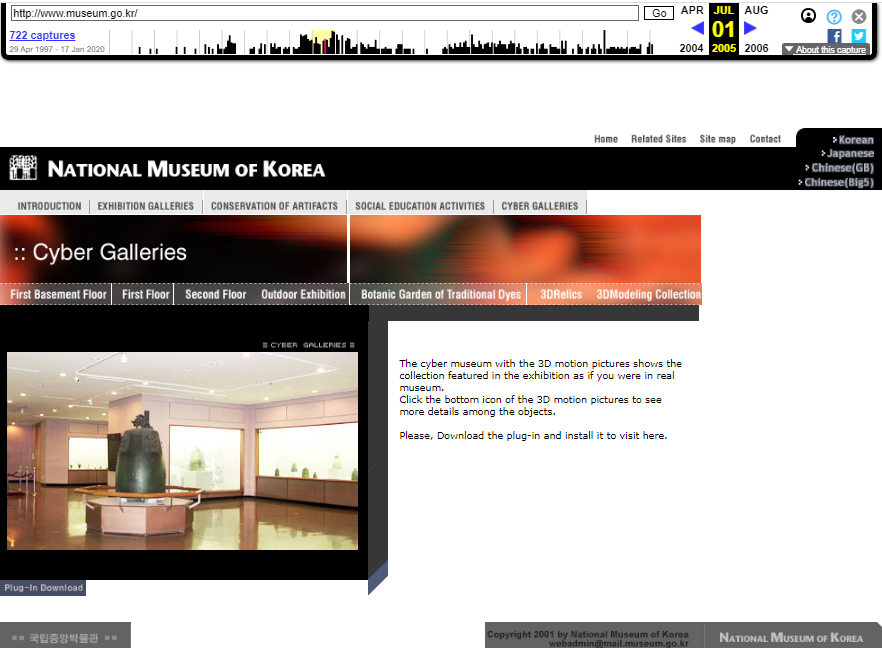 National Museum of Korea. Snapshot of the Cyber Galleries Page on 1 July 2005 [11]