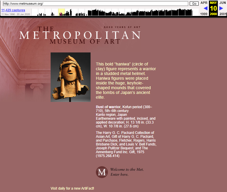 The MET Museum. Snapshot of the Main Page on 10 May 2000 [3]