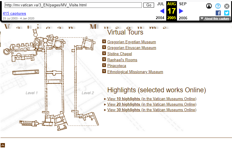 Vatican Museums. Snapshot of the Virtual Tours Page on 17 August 2005 [9]