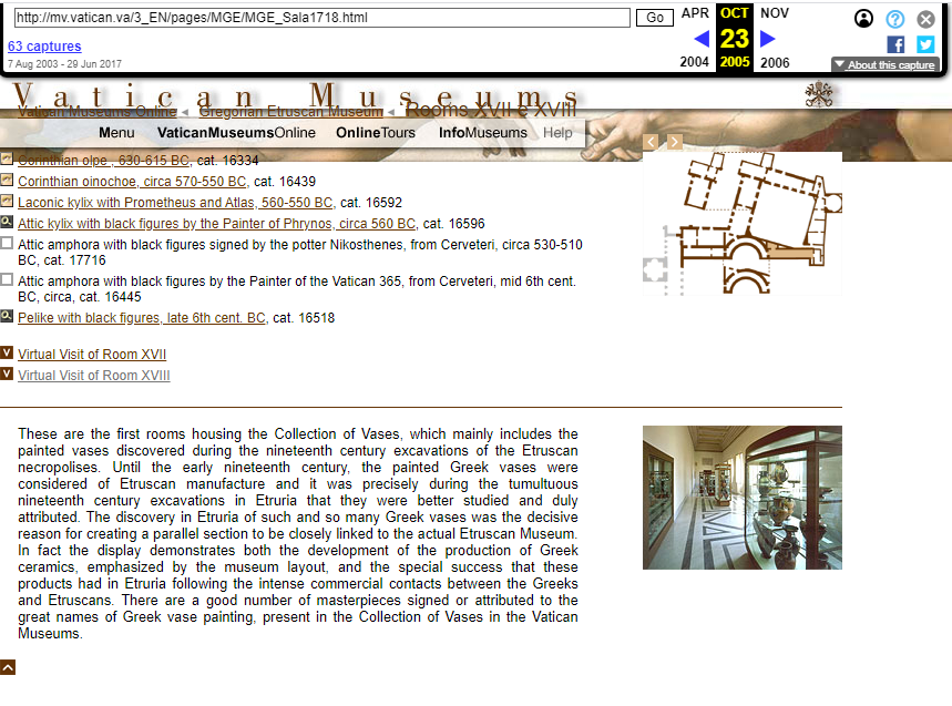 Vatican Museums. Snapshot of the Virtual Tour Page on 23 October 2005 [10]