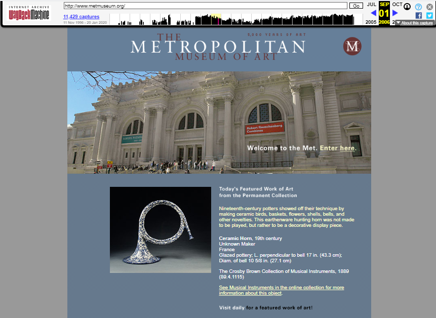 The MET Museum. Snapshot of the Main Page on 1 September 2006 [4]